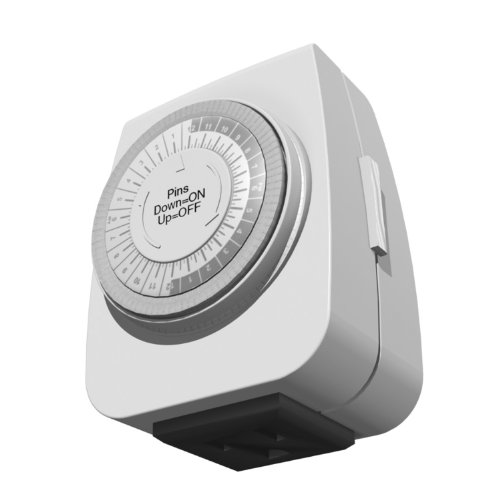 Stanley 31195 Indoor Grounded Time It Mini Mechanical Timer, White