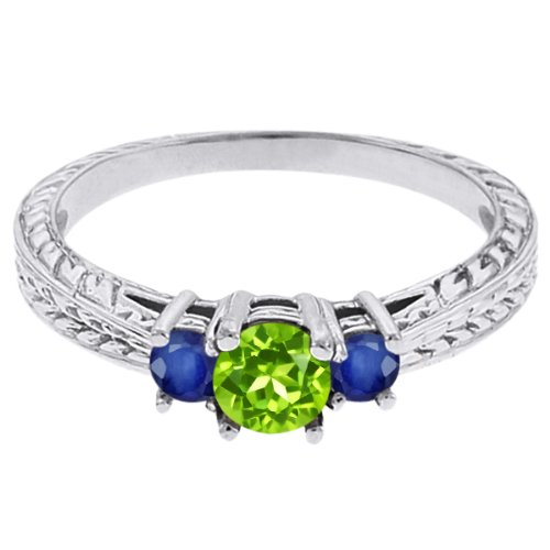 0.56 Ct Round Green Peridot Blue Sapphire 14K White Gold 3-Stone Ring