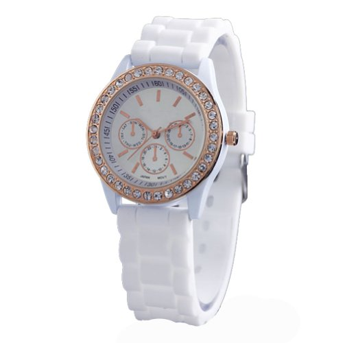 WLM Round Fashion White Clock 3 Dials Luxury Sports Unisex Quartz Wrist Watch Watches