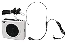 PYLE-PRO PWMA60UW 50 Watts Portable USB Waist-Band PA System with Headset Microphone, Rechargeable Batteries (Color White)