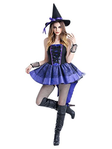 honeystore damen halloween kost me rollenspiel hexe cosplay spiel uniform allerheiligen kleider. Black Bedroom Furniture Sets. Home Design Ideas