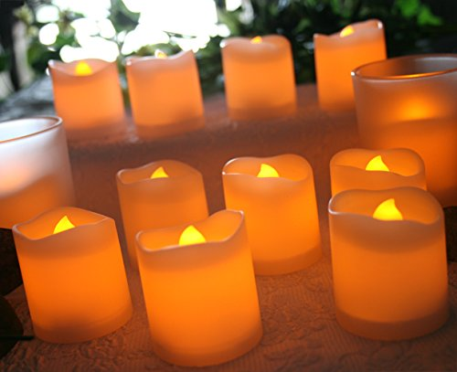 Led Lighted Flickering Votive Style Flameless Candles Box Of 12