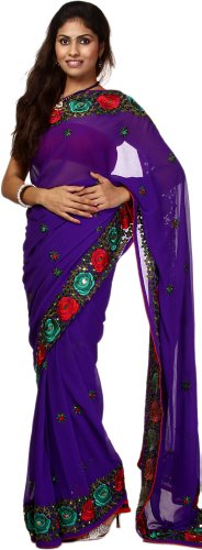 Exotic India Royal-Purple Saree with Parsi Embroidered Roses on Border - Purple (violet)