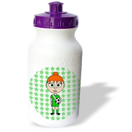 Wb_6322_1 Janna Salak Designs Soccer Stars - Cute Soccer Girl With Orange Hair - Water Bottles