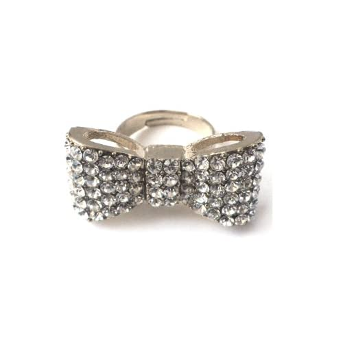 Johnny-Loves-Rosie-Silver-Jewel-Bow-Ring-Size-P