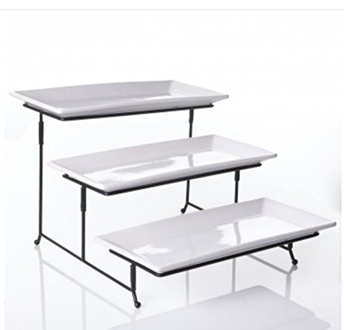 WCI 3 Tier Rectangular Serving Platter Set With Metal Rack - Three Tiered Dessert Cake Appetizer Set Display Tray Stand, WHITE (Appetizer Tray compare prices)