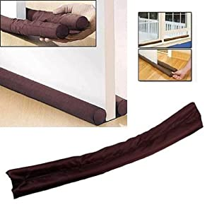 Twin Door Draft Dodger Guard Brown Stopper Energy Saving