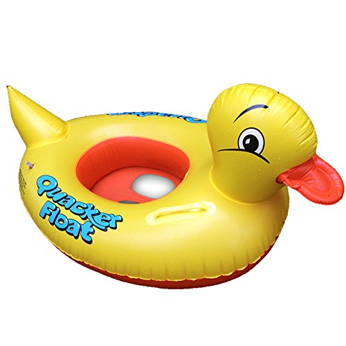 Eonkoo Cute Yellow Duck Design Summer Baby Inflatable Swimming Pool Buoy Float for Toddler Gift Water Lifebuoy Toy Safety PVC Round Double Handle Swim Ring for indoor and outdoors Ages 1 Years and Up