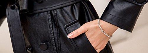 Helan Women's Double Breasted PU Leather Coat With Belt Inside Fur Black US 8/10