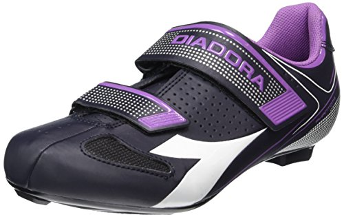Diadora Women's Phantom II Road Cycling Shoe - 170223-C6040 (Dk Smoke/White/Violet Orchid - 41)