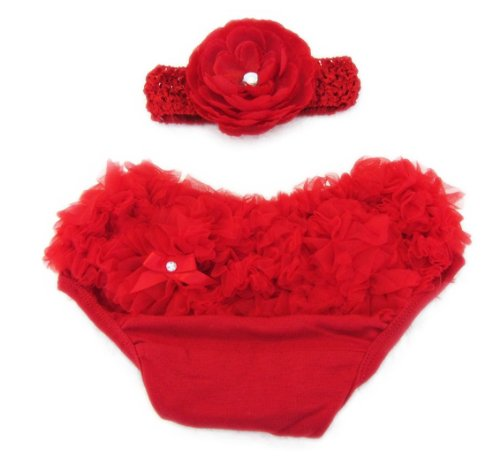 Ema Jane (Red with Accessory) Ruffled Woven Baby Diaper Bloomer Covers (Choose From Many Colors or Styles) (3 to 18 Months) (3 Months to 18 Months) - 1