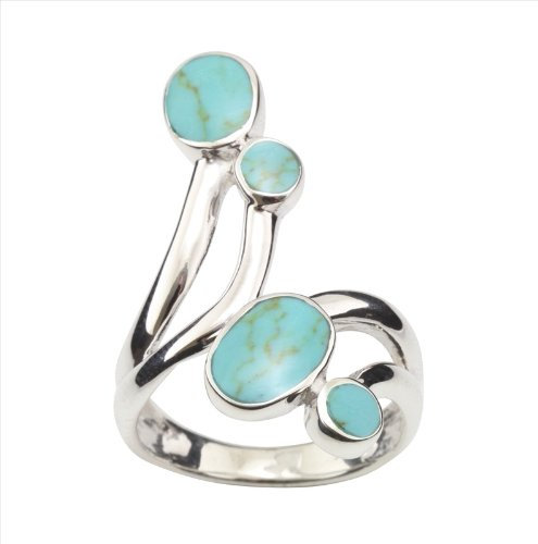 Green Turquoise Howlite & 925 Sterling Silver Ring