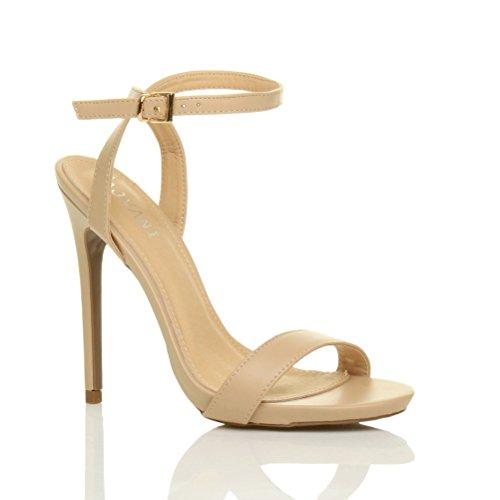 Donna alto tacco partito fibbia con cinturino sandali scarpe numero 5 38