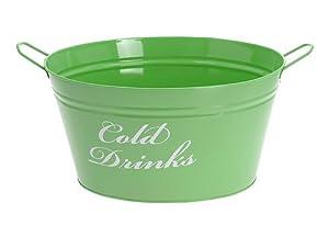 """Getränkekühler Wanne """"Cold Drinks"""" Flaschenkühler Metall Grün"""