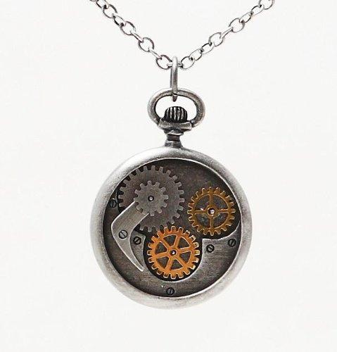 Steampunk Scythe Compass Clockwork Pendant