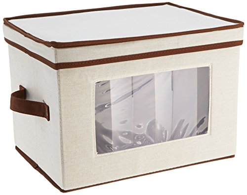 "Household Essentials 530 Dinnerware Storage Chest for Saucers, Tan, 7.5"" x 8"" x 8"""
