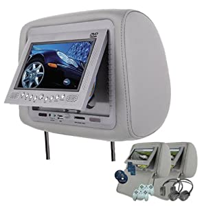 "Gray Headrest Pair 7"" LCD DVD Monitors USB SD Slot Wireless Video Game Car Package by BetterStuff LowerPrice"