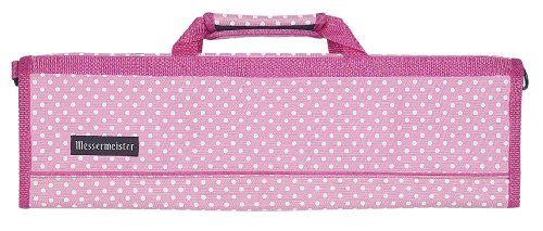 Messermeister 8-Pocket Padded Knife Roll, Pink With White Dots