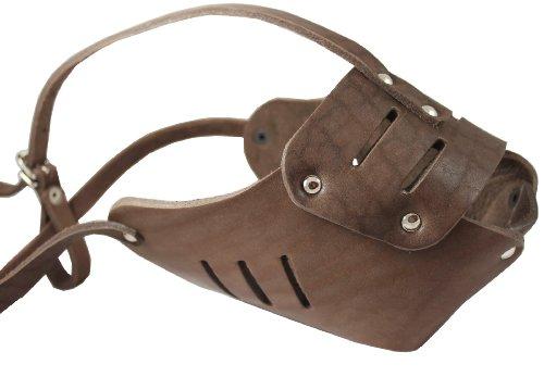 Real Leather Cage Basket Secure Dog Muzzle #131 Brown - Great Dane, Saint Bernard, Mastiff(Circumference 15