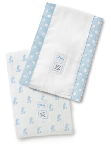 SwaddleDesigns Baby Burpies, Disney - Pastel Blue Little Mickey (Set of 2 Burp Cloths)