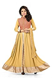 BanoRani Faux Georgette Beige Color Semi Stitched Full Length Anarkali Gown Style Salwar Suit