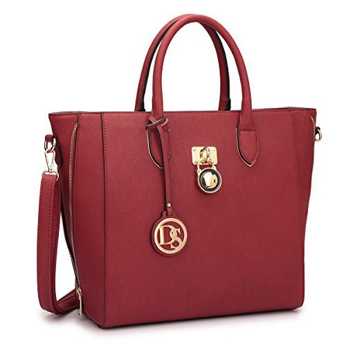 dasein-womens-top-handle-structured-padlock-tote-bag-satchel-handbag-shoulder-bag-with-shoulder-stra