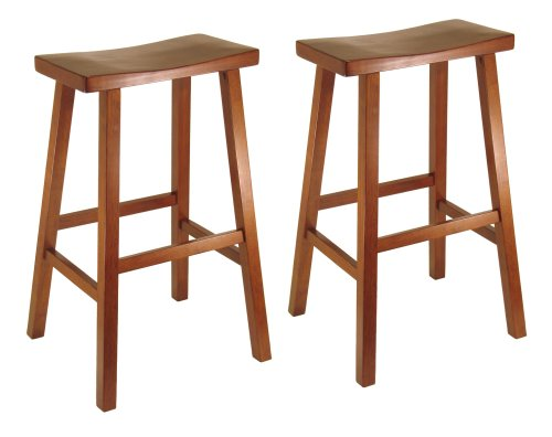 Winsome Wood 29 Inch Saddle Seat Set Of Two Bar Stools