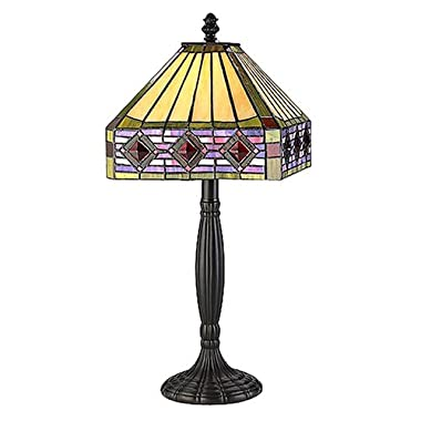 Square Glass Jeweled Table Lamp