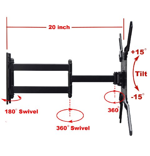 Videosecu Low Profile Articulating Swing Arm Tv Wall Mount
