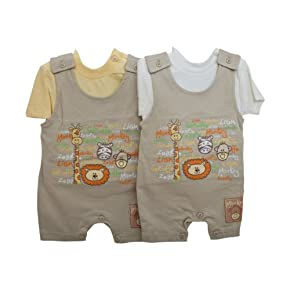 Baby Boy Zoo Animal Design Short Sleeve T-Shirt and Dungarees Set