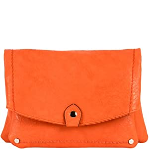 Nina Foldover Convertible Clutch - Neon Coral Orange