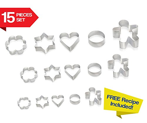 Cookie Cutters 15 PIECE SET by Immys - HIGH QUALITY Biscuit Cutter Set With FREE RECIPE - Create Perfect Shaped Cookies - Star Round Heart Gingerbread Man Flower - Mini Cookie Cutters For Kids