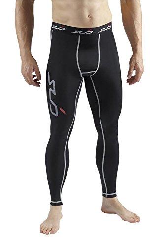 SUB Sports DUAL Mens Compression Tights / Pants - All Season Base Layer Leggings - Black - S