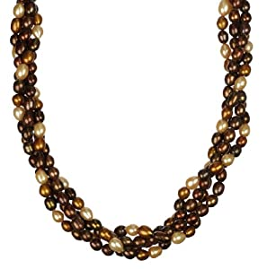 Bronzed Goddess Twisted Freshwater Cultured Pearl Necklace, 36""