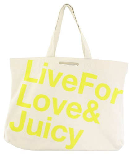 Juicy Couture Live for Love Canvas Large Tote Lemon