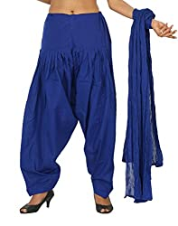 Yashka Women's Cotton Patiala Dupatta Set (YASHKA 7303_Royal Blue_Free Size)