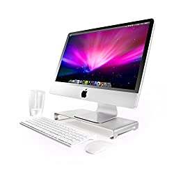 Jelly Comb Aluminum Unibody Monitor / Laptop / iMac Stand W Keyboard Storage, Silver