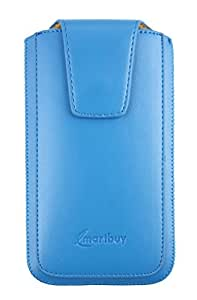 Emartbuy® Orange Nura 2 Sleek Light Blue Luxury PU Leather Slide in Pouch Cover ( 4XL ) With Magnetic Flap & Pull Tab