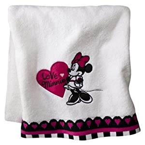 Amazon Com Minnie Mouse Bath Towel White Minnie