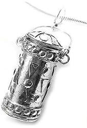 Hanging Lantern Sterling Silver Tall Cylinder Poison Box Jar Urn Pendant
