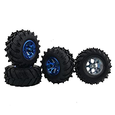 Signswise 4 Pcs Rubber Tires Tyre Plastic Wheel Rim 3002B HPI Rc 1:10 Monster Bigfoot Truck