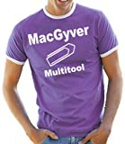 MacGyver - Multitool Contrast / Ringer T-Shirt Liliac/White, M