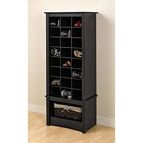 Broadway Black Tall Shoe Cubbie Wood Bookases Cabinet