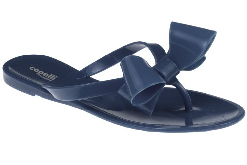 Capelli New York Ladies Fashion Flip Flop Jelly Thong With A Bow Navy 8