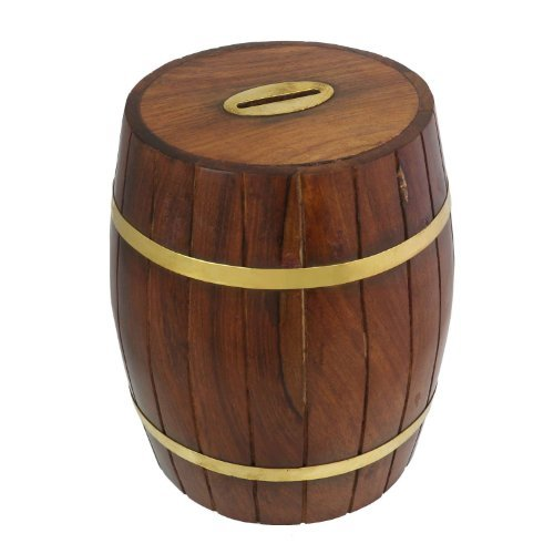 Cylindrical Wooden Money Box Made in Fine Polished Sesum Wood 6 Inches