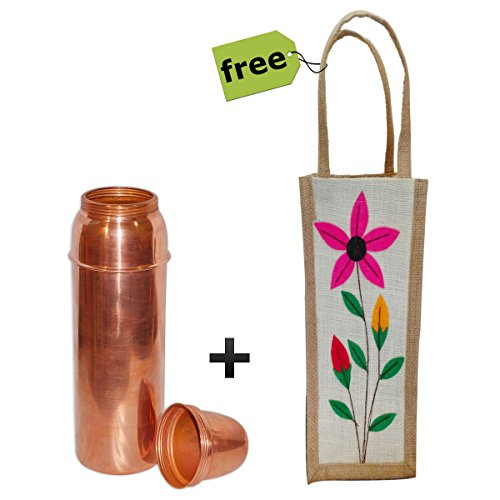 RoyaltyLane Indian Pitcher Water Bottle with Lid - Copperware Ayurveda Alternative Healing - Capacity 800 Ml Comes With Handmade Floral Jute Bag (12 Cup Water Pitcher compare prices)