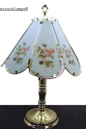 touch lamps 8 panel table touch lamp tiffany antique rose with brass. Black Bedroom Furniture Sets. Home Design Ideas