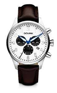 Golana Aero Chrono Men's Quartz Watch with Silver Dial Chronograph Display and Brown Leather Strap AE600-3
