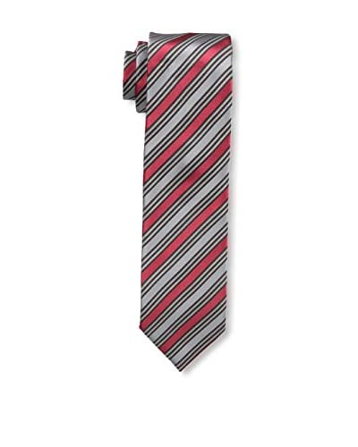 Ermenegildo Zegna Men's Striped Tie, Red/Gray