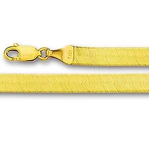 14K Yellow Gold Imperial Herringbone Chain Bracelet - Width 3.0 mm - Length 7 Inch